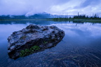 Rock at Vermillion Lakes, dawn